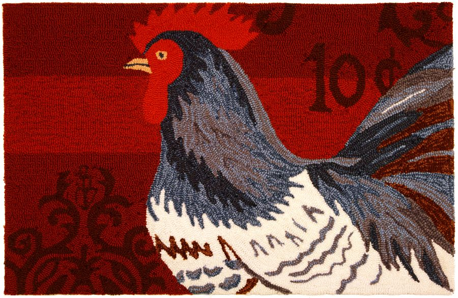 homefires black & white rooster on red contemporary area rug collection