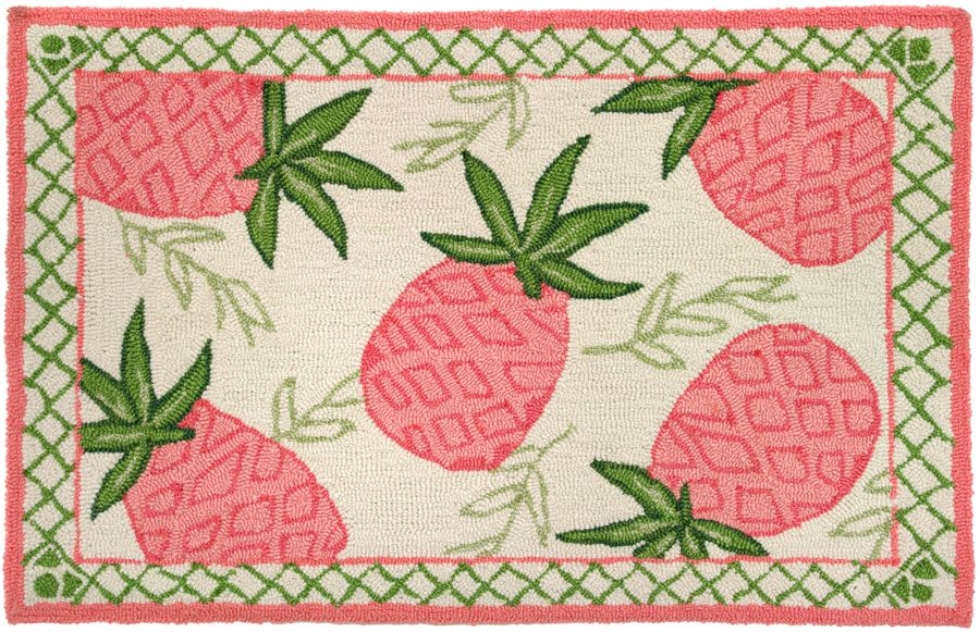 homefires pink pineapple contemporary area rug collection