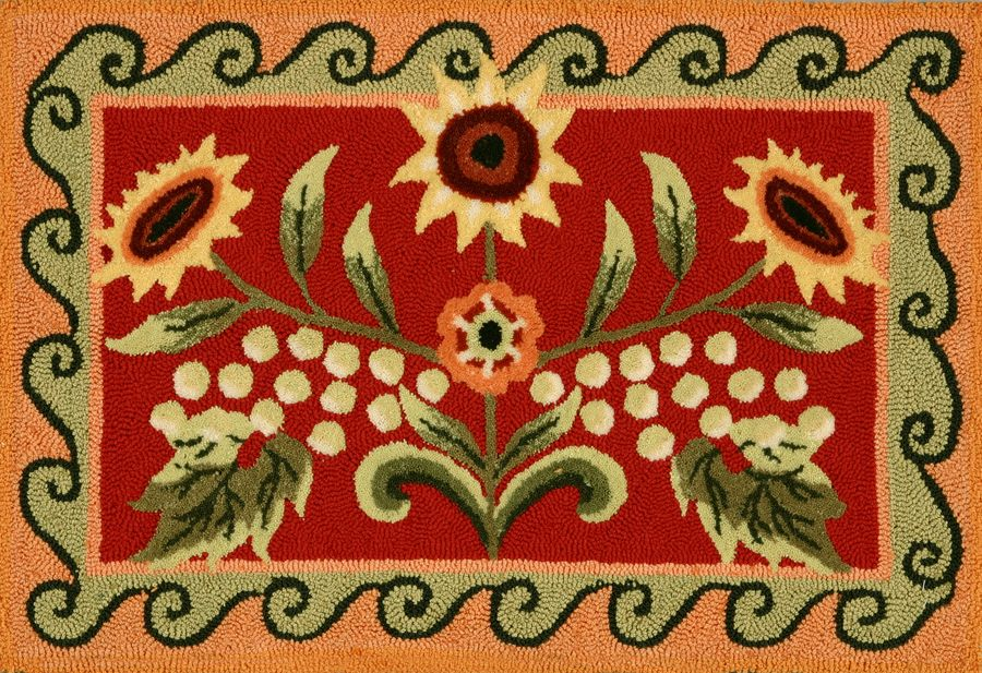 homefires tuscan sunflower & poppy contemporary area rug collection