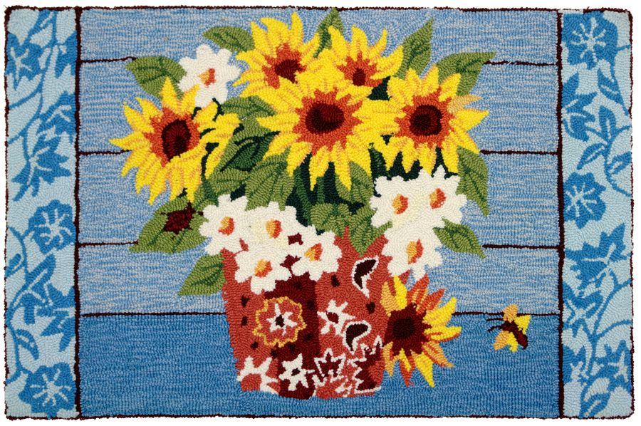 homefires sunflowers in bandana pot contemporary area rug collection
