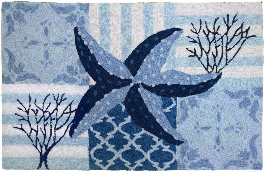 homefires starfish & coral on blue contemporary area rug collection