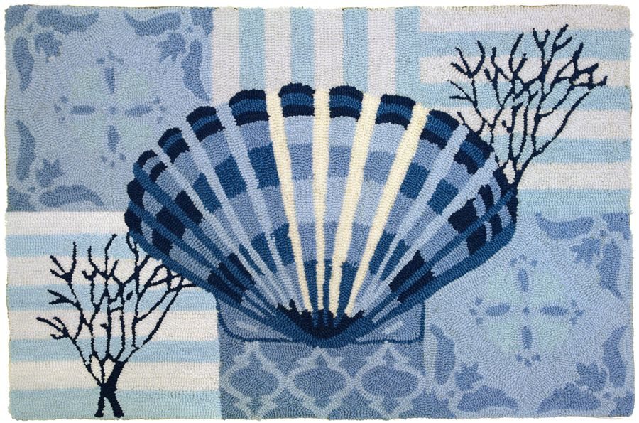 homefires clam shell & coral on blue contemporary area rug collection