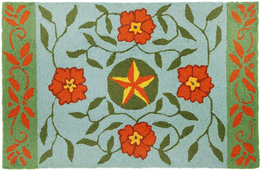 homefires western floral & star - blue contemporary area rug collection