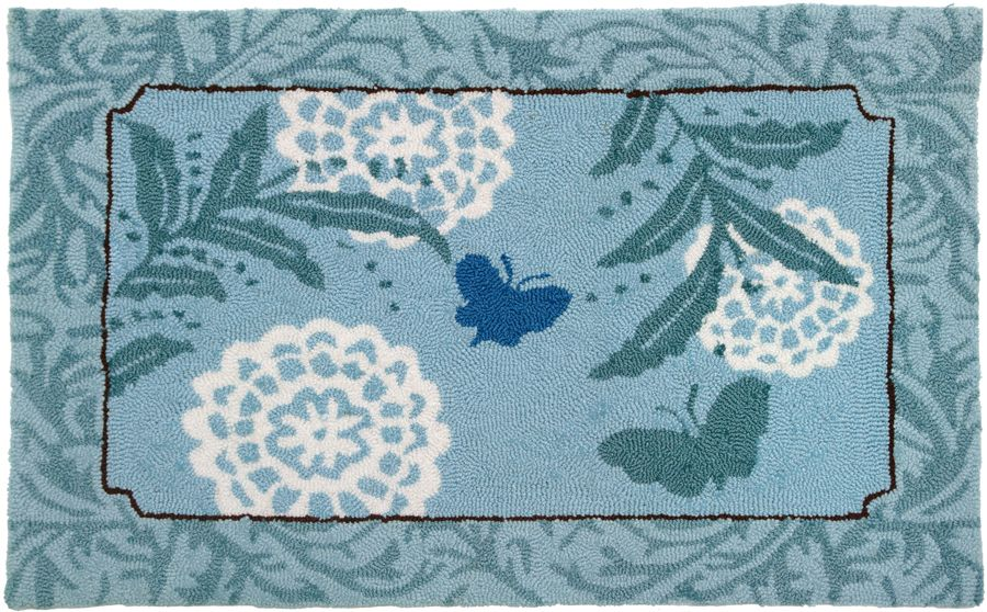 homefires blue butterfly contemporary area rug collection