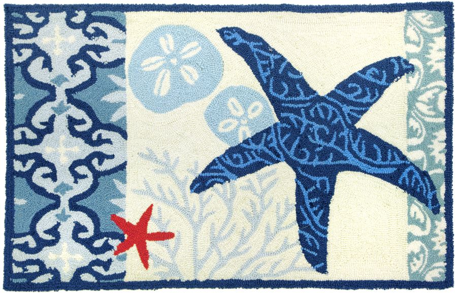 homefires italian tile with starfish contemporary area rug collection