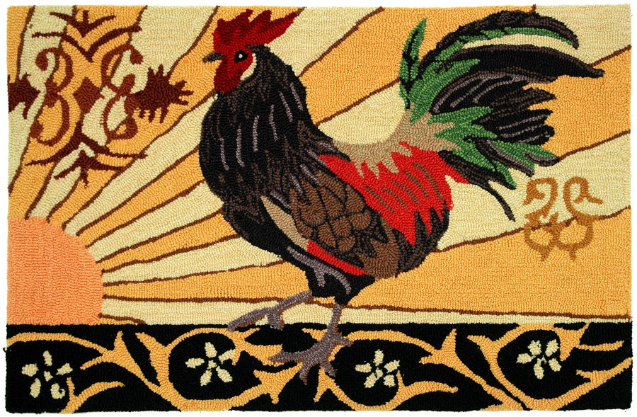 homefires gallo italia rooster contemporary area rug collection