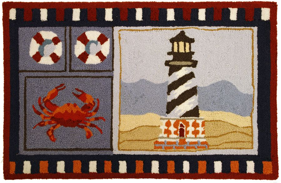 homefires lighthouse & crab contemporary area rug collection