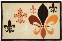 Homefires Contemporary Fancy Fleur De Lis - Black & Tan Area Rug Collection