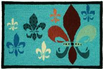 Homefires Contemporary Fancy Fleur De Lis - Teal & Brown Area Rug Collection