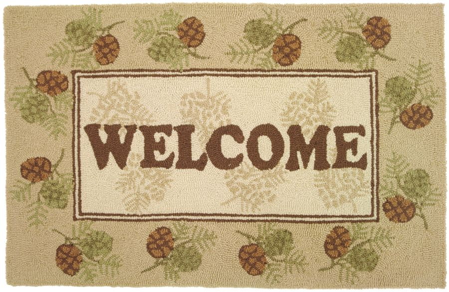homefires welcome pine cones contemporary area rug collection