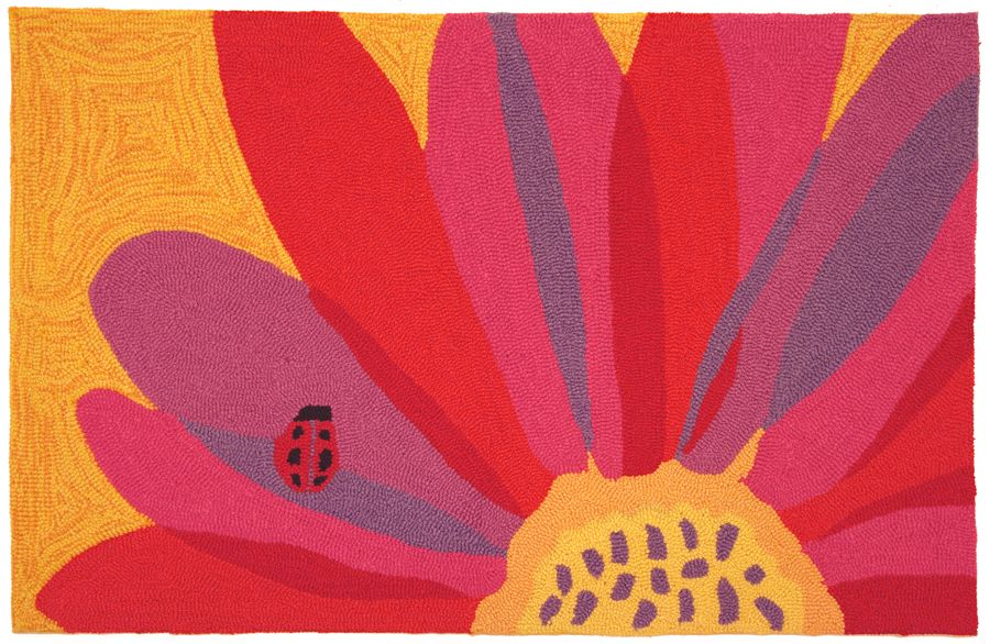 homefires ladybug on pink sunflower contemporary area rug collection