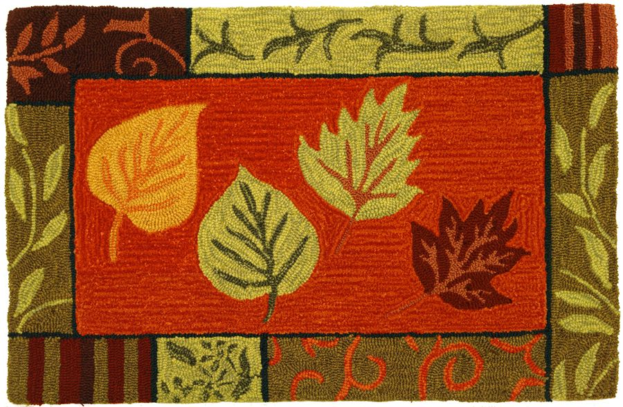 homefires fall leaf mosaic contemporary area rug collection