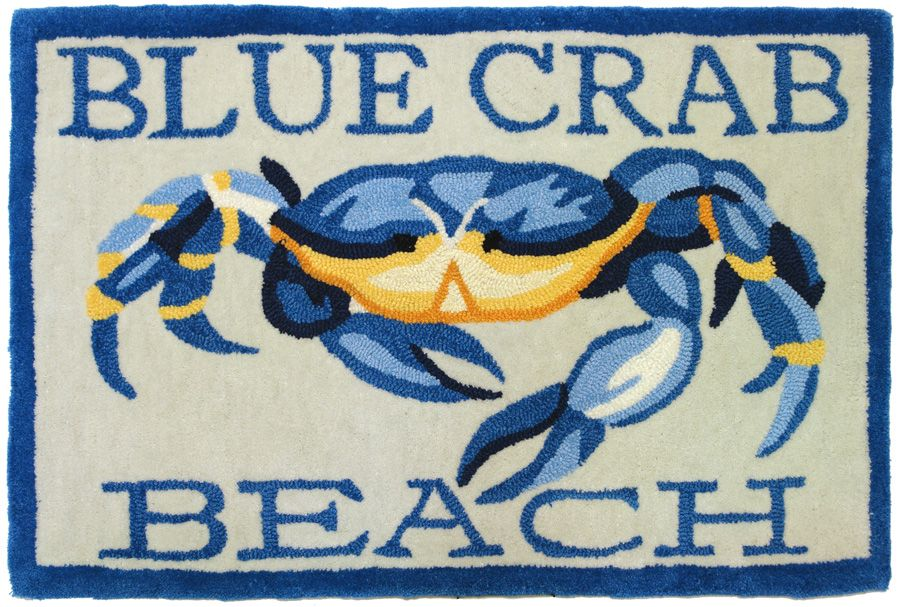 homefires blue crab beach contemporary area rug collection