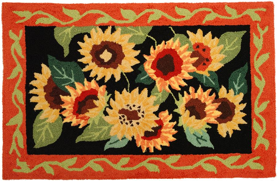 homefires sunflowers on black contemporary area rug collection