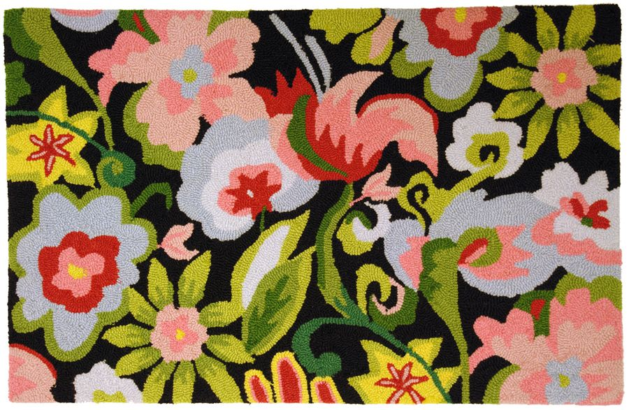 homefires watercolor flowers on black contemporary area rug collection