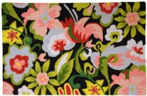 Homefires Contemporary Watercolor Flowers On Black Area Rug Collection