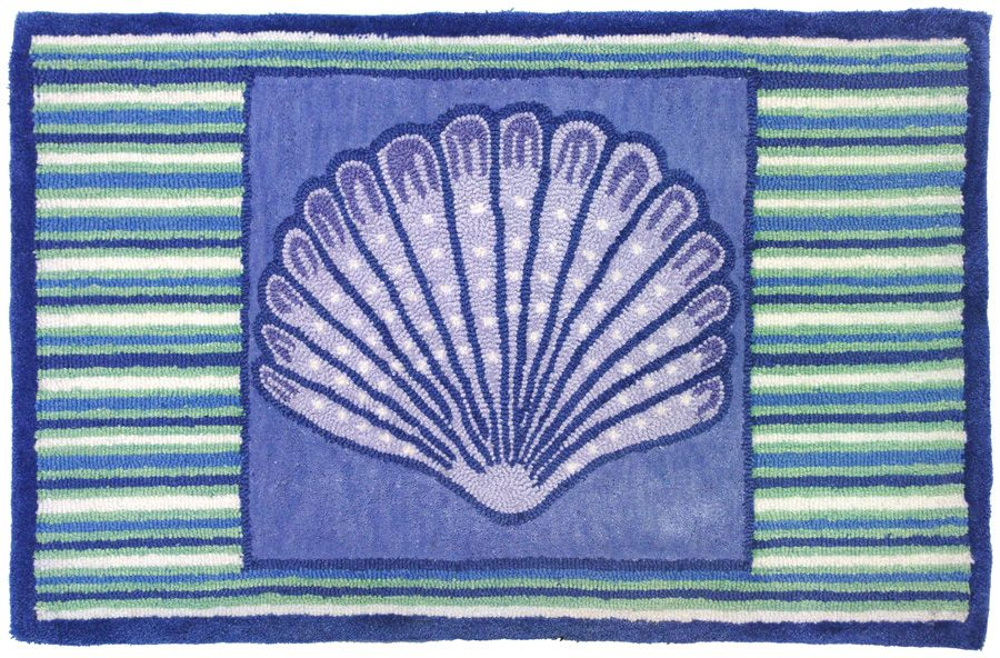 homefires blue clam shell contemporary area rug collection