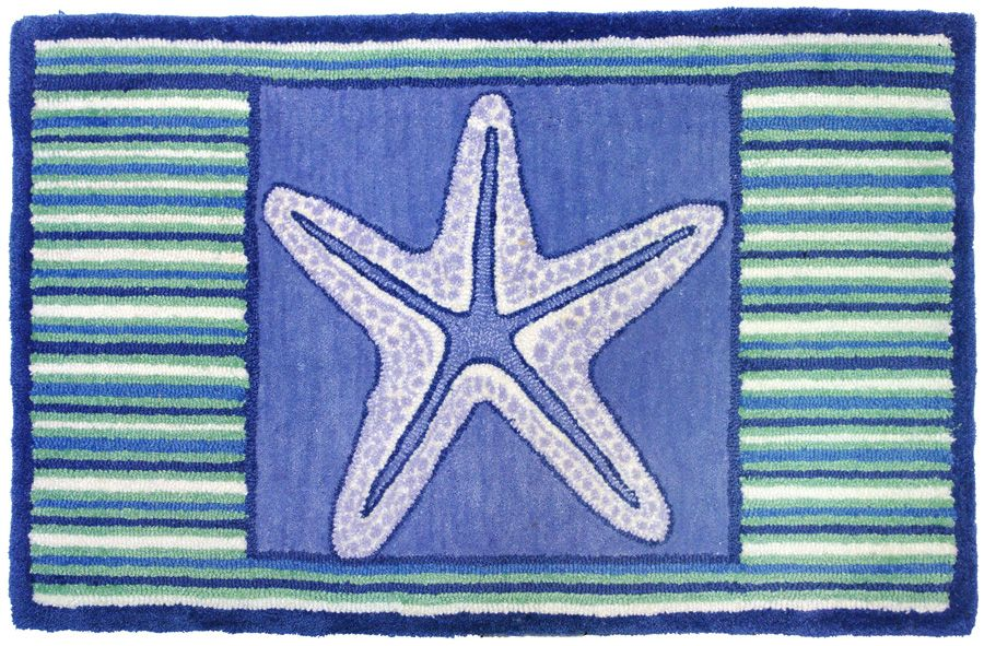 homefires blue starfish contemporary area rug collection
