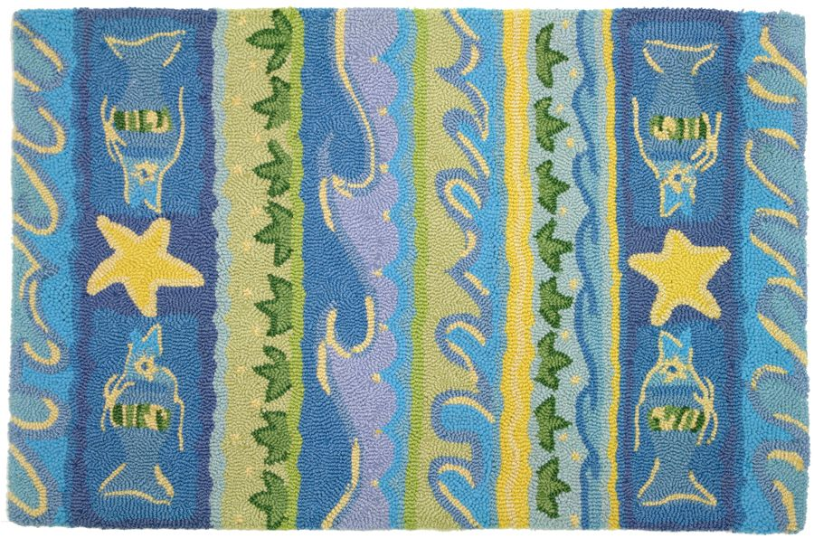 homefires waves & starfish contemporary area rug collection