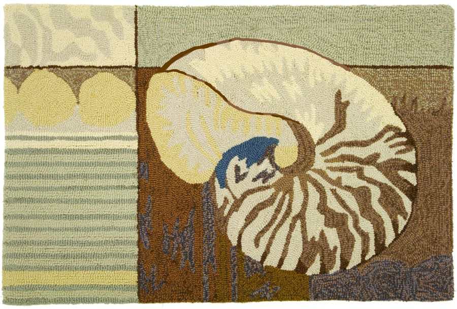 homefires ocean nautilus shell contemporary area rug collection