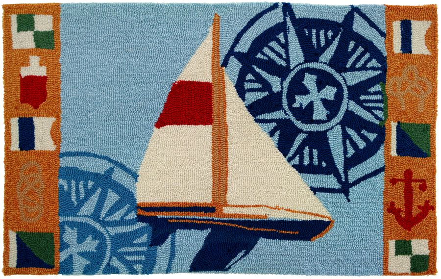 homefires sailboat & compass contemporary area rug collection
