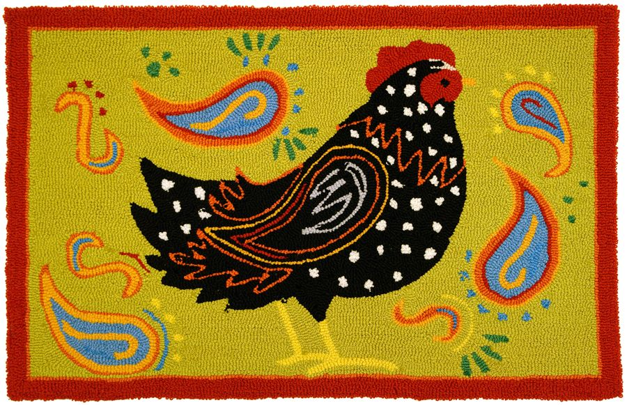 homefires hippie chicken contemporary area rug collection