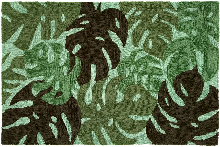 homefires tropical leaves - green contemporary area rug collection