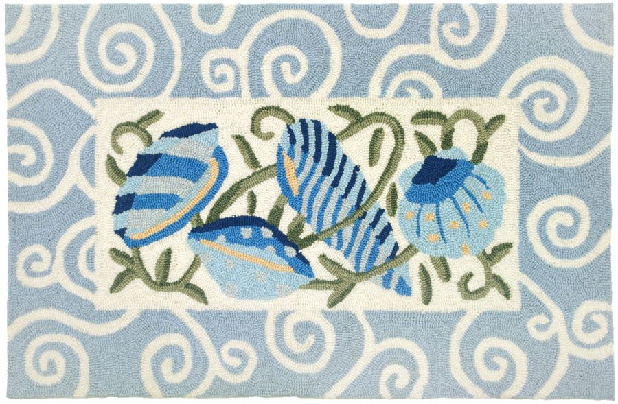homefires sea blue shells contemporary area rug collection