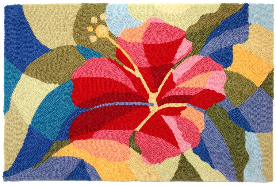 homefires bright hibiscus contemporary area rug collection
