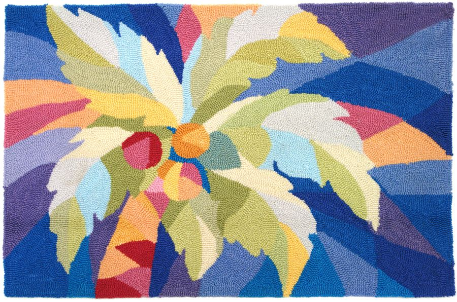 homefires bright palm tree contemporary area rug collection