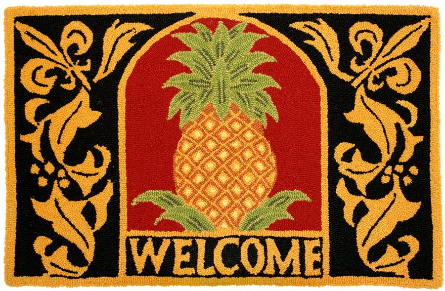 homefires welcome pineapple contemporary area rug collection