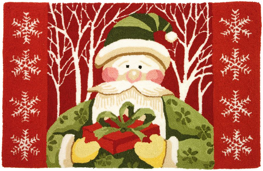 homefires santa in white forest contemporary area rug collection