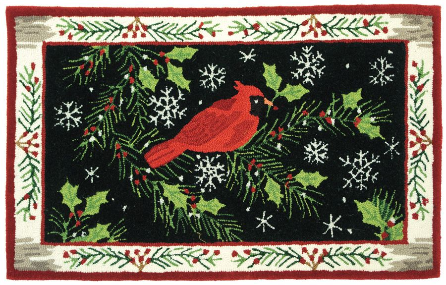 homefires christmas cardinal contemporary area rug collection
