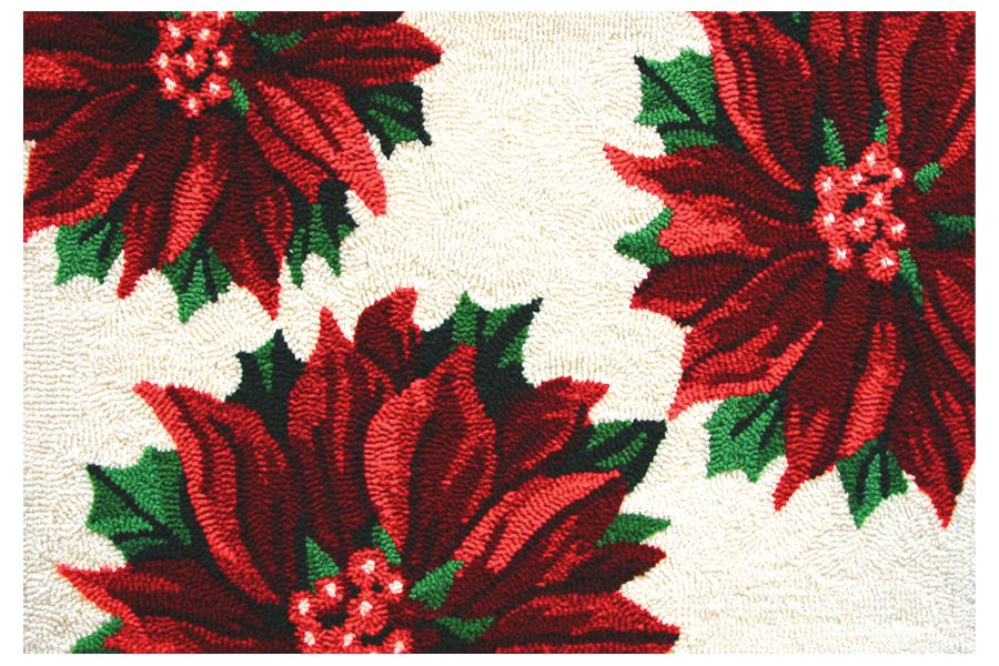 homefires three poinsettias contemporary area rug collection