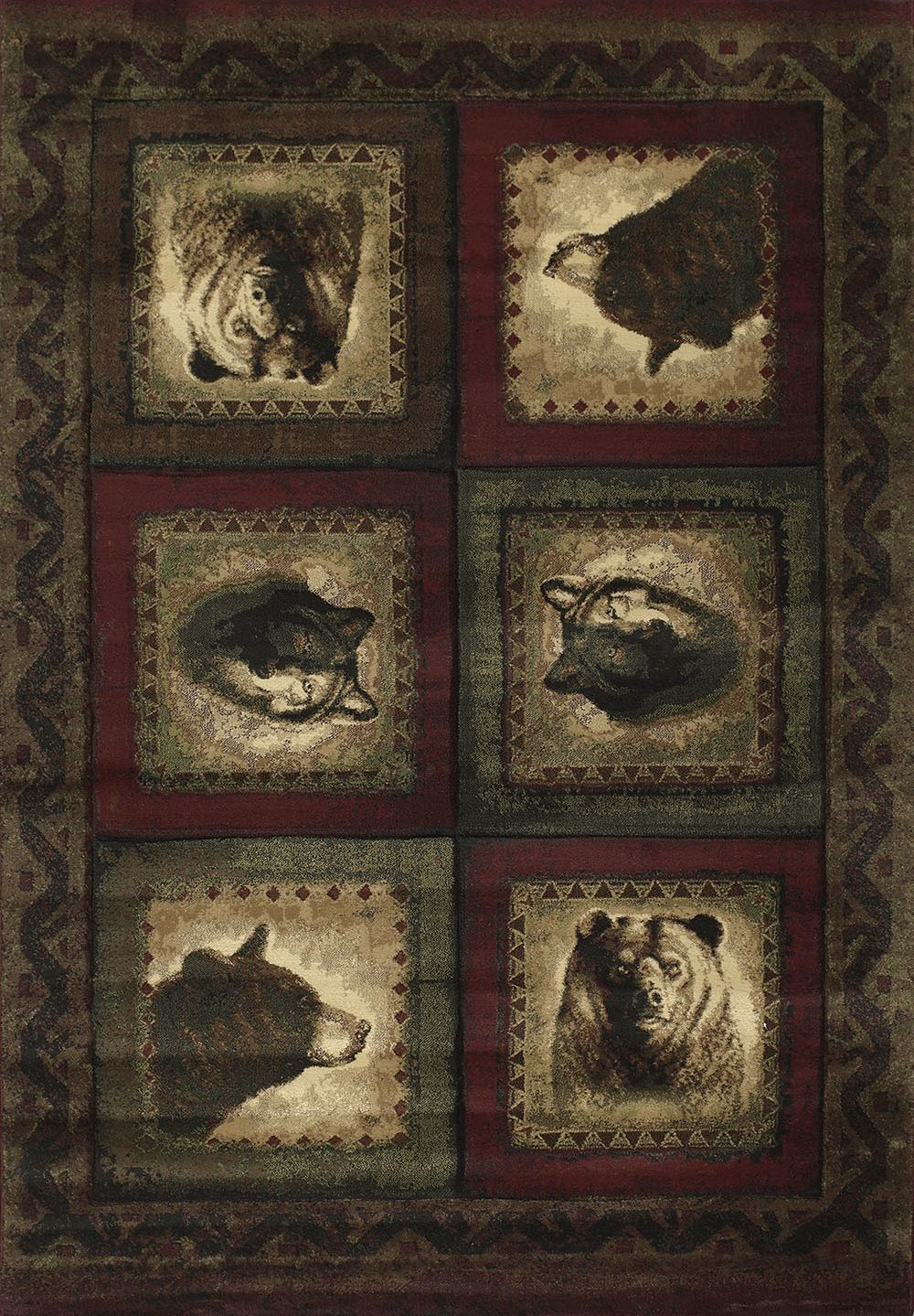 united weavers contours-jq bears &wolf southwestern/lodge area rug collection